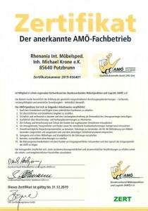 AMÖ - Bundesverband Möbelspedition und Logistik - Zertifikat